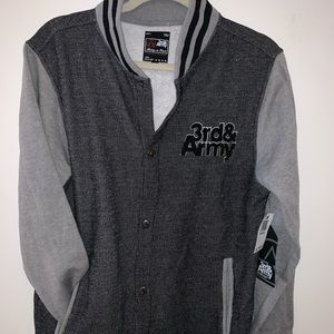 Men's varsity jacket in grey with buttons